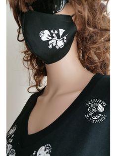 Szervető-kalocsai szájmaszk - fekete-fehér Farmer, Bodysuit, Crop Tops, Women, Fashion, Onesie, Moda, Fashion Styles, Farmers