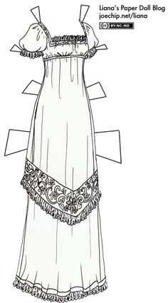 Black and White Regency Gown for Coloring | Liana's Paper Dolls