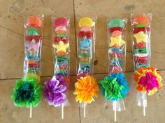 Candy Kabobs tied with Paper Flowers, used as a party favor