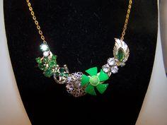 Repurposed Vintage Jewelery Assemblage Bib Necklace Irish