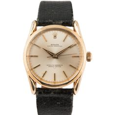 Pre-Owned Vintage Rolex Bombay 14k Oyster Perpetual (60 170 ZAR) ❤ liked on Polyvore featuring jewelry, watches, 14k watches, vintage wristwatches, rolex watches, automatic movement watches and gold wristwatches