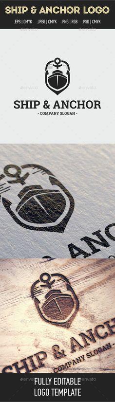 Ship & Anchor Logo Template - Objects Logo Templates