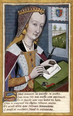 Ovid miniatures show women writing with quill and ink.