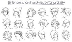 95 Awesome Messy Hairstyles Sketches In Short Hair Drawing at Paintingvalley, Messy Hairbun Discovered by Hakuna On We Heart It, Drawings Girls with Messy Buns, Messy Bun Sketch by On Deviantart. Female Anime Hairstyles, Short Hairstyles For Women, Messy Hairstyles, Drawing Hairstyles, Girl With Pink Hair, Girl Short Hair, Curly Short, Short Hair Drawing, Manga Hair