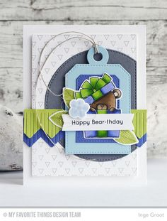 Beary Special Birthday Stamp Set and Die-namics, Transparent Triangles Background, Flashy Florals Stamp Set and Die-namics, Chevron Fringe Die-namics, Tag Builder Blueprints 4 Die-namics, Stitched Circle STAX Die-namics, Stitched Rectangle STAX Die-namics - Inge Groot  #mftstamps