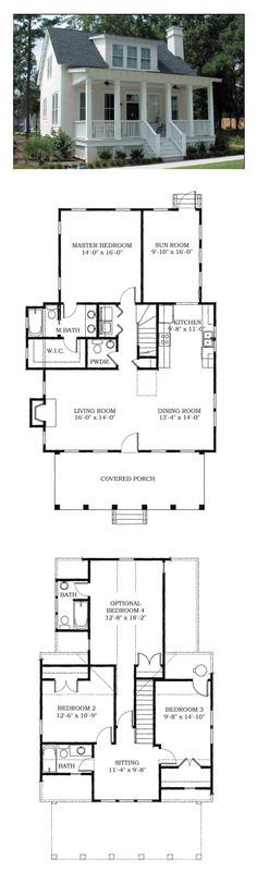 Tiny house - great for vacation home. square feet but bedrooms Tiny house - great for vacation home. square feet but bedrooms Best House Plans, Dream House Plans, Small House Plans, My Dream Home, Tiny Home Floor Plans, Beach House Floor Plans, Cottage Floor Plans, Cottage Plan, Cottage Style
