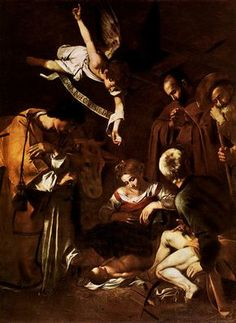 Michelangelo Merisi da Caravaggio, (1571 – 1610)  Nativity with St. Francis and St. Lawrence  Oil on canvas, 1609  268 cm × 197 cm (106 in × 78 in)  San Lorenzo, Palermo, Italy (stolen in 1969)