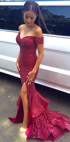 Glamorous Sequined Mermaid Ruffles 2016 Prom Dress Front