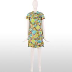 1960's Abstract Floral Cowl Neck Shift Dress - Size S/M | See more vintage Day Dresses at http://www.1stdibs.com/fashion/clothing/day-dresses in 1stdibs