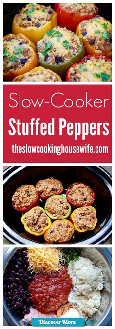 Crock Pot Stuffed Peppers ~ easy, delicious, healthy, and packed with protein! Crock Pot Recipes, Cooking Recipes, Healthy Recipes, Healthy Crock Pot Meals, Keto Recipes, Delicious Crockpot Recipes, Breakfast Crockpot, Chicken Recipes, Healthy Food