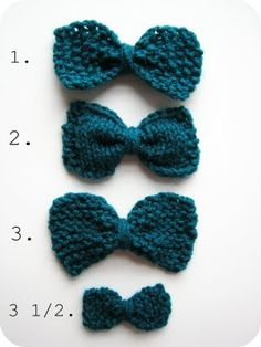 For xmas I am going to knit lots of these bows in red, white and green to make a garland.  I might also knit tiny ones on 2mm needles to embellish my xmas cards.