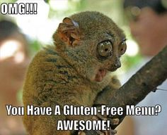 My reaction to any time I find a gluten free menu...