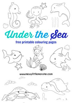 Under the sea colouring pages to download (for free) and print out.  The free printables include a mermaid, dolphin, turtle, fish, crab, octopus, whale and seahorse. Great for toddler,  preschoolers and older kids and as part of a ocean or summer project.