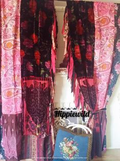 Boho Curtains by Hippiewild Tapestry Curtains, Patchwork Curtains, Bohemian Curtains, Tapestries, Bohemian Gypsy, Bohemian Decor, Boho Chic, Furniture Design, Plywood Furniture