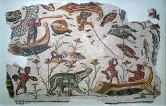 Mosaic depicting a landscape along the Nile, with hippopotamus and pygmies, ducks and fishes, small boats and nets (early 3rd cent.A.D.), Sousse