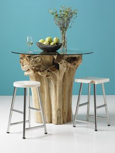 Teak Wood Bar Table with our onyx bar stools. Root Table, Wood Bar Table, Couch Table, Phillips Collection, Interior Design Elements, Autumn Trees, Teak Wood, Interior Inspiration, Wood Crafts