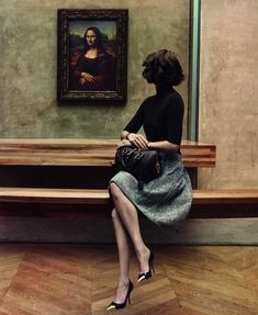 """Arizona Muse with the Mona Lisa in the Louvre for Louis Vuitton, November 2012. The luxury giant creates beautiful classy campaigns in scenic locations that tell stories, often revolving around travel or an icon. Here, they released """"L'invitation au voyage"""" featuring Muse, a campaign that comes in a series of six images and a film."""