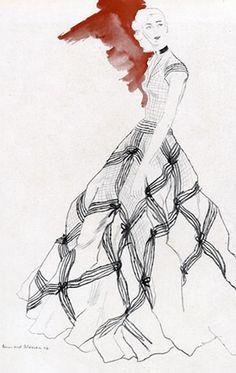 Fashion Illustration by Bernard Blossac, 1947, Evening Dress by Carven.
