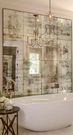 Sometimes an artfully faded mirror is all that is necessary to create a vintage Italian feeling at home. 10 Fabulous Mirror Ideas to Inspire Luxury Bathroom Designs ?To see more Luxury Bathroom ideas Bathroom Design Luxury, Bathroom Designs, Bathroom Ideas, Luxury Bathrooms, Bathtub Ideas, Bathroom Interior, Bathroom Remodeling, White Bathrooms, Remodeling Ideas