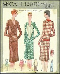 1920s Ladies Dress Sewing Pattern - McCall 4748