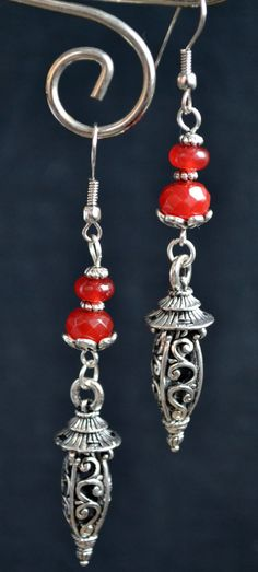 Red Ruby Dangle Drop Earrings with Silver Charms by LKArtChic