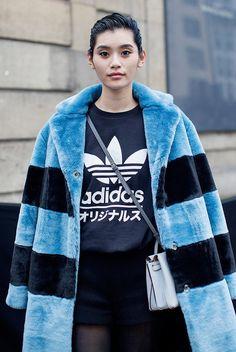 Coat: blue fluffy blue stripes striped t-shirt adidas shorts black shorts bag blue bag fuzzy tumblr
