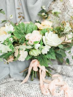 blush pink bouquet - photo by Bradley James Photography http://ruffledblog.com/autumn-lakeside-proposal
