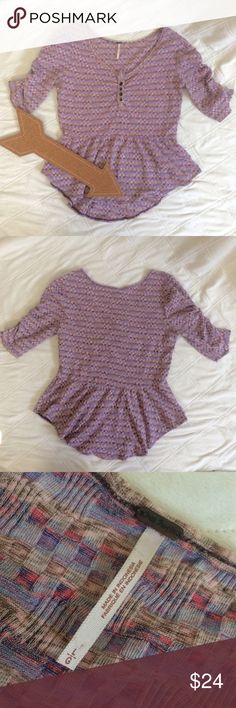 🆕FREE PEOPLE PASTEL ROUCHED PEPLUM HI LO  SHIRT L ADORABLE! This is a happy pastel colored FREE PEOPLE shirt that has a hi-lo peplum and rouched sleeves. Cute little buttons in the front, EUC. Would look great with a cute pencil skirt or with a pair of jeans! Free People Tops