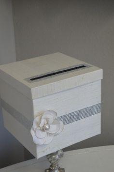 Silk Wedding Card box-Custom made to Order- Silk and bling wedding card box on Etsy, $87.20