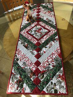 Christmas Cardinals Table Runner skinny quilt or bed runner