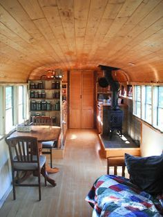 school bus conversions to motorhomes | Custom School Bus Interiors Busonomics living in a school