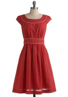 Day After Day Dress in Dot. Just as you can always rely on your bestie to greet you with a pint of ice cream after a hard day, you can trust that this darling dress by hard-to-find British designer Emily and Fin will always lift your spirits when you need it! #red #modcloth