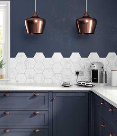 Cementine esagonali come paraschizzi - hexagonal cement tiles for splash guard