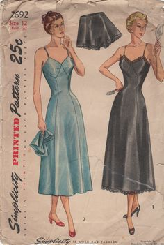 Simplicity 2692 1940s Ladies Lingerie Pattern Misses Full Slip and Tap Panties womens vintage sewing pattern by mbchills