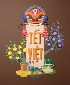 """Tết ViệtTet is an important holiday in the year of Vietnamese (Vietnam Lunar new year). Nowadays, the atmosphere is modernized and no longer converse a traditional flavor of the Tet old day. That is why we made the """"Tet Viet"""" poster.Our inspiration is … Cut Paper Illustration, New Year Illustration, Illustrations, Graphic Illustration, Vietnam, Paper Art, Paper Crafts, Chinese Paper Cutting, New Year Art"""