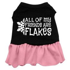 All my friends are Flakes Screen Print Dress Black with Pink Sm (10)