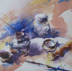 """""""A Tinta Azul"""" - Aguarela de C. Rey"""