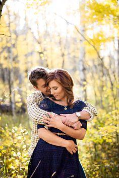 Outdoor, Autumn, Engagement Photos, Engagement photo ideas.  Hands around her waist, though.
