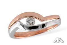 Rose and White, 14K White and Rose Gold