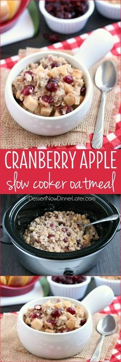 Cranberry Apple Slow Cooker Oatmeal - Hearty oatmeal gets a tangy twist with Craisins® Dried Cranberries and fresh apples. Bonus! This cranberry apple oatmeal is made in the slow cooker for a hot and healthy breakfast ready when you are! #BetterWithCraisins #ad