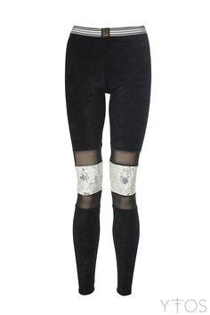 'Cintia' Black Leggings W/ Silver & Transparent Details