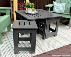 Easy DIY outdoor coffee table plan with 4 hidden side tables - use one, two or all four side tables
