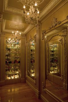 louis XIV panels applied on mirrors in this fabulous closet at beaux-artes.com