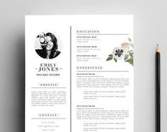 Instant Digital Download / Word format + PSD / CV Template + Cover Letter, 3 page Resume Template / Fonts included: