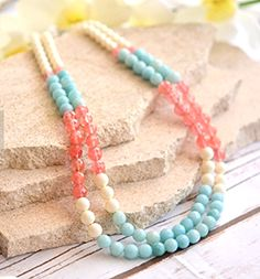 Wedding Statement Necklace in Blue, Coral and Ivory. Double Strand Statement Bridesmaids Necklace.