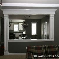 Half Wall Opening Dressed Up With Columns And Large Header Skillman Nj Picture Home Renovation, Home Remodeling, Kitchen Renovations, Demis Murs, Design Salon, Half Walls, Living Room Kitchen, Living Rooms, Family Rooms