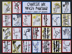 This is a fantastic school art project - Chinese Ink Wash Painting - done by a 3rd Grade Class