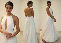 Sophie Charlotte (vestido branco longo de seda pura e bordado com cristais)