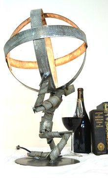 Atlas Shrugged Wine Bot Desk Lamp - 100% Recycled Napa wine barrel rings -