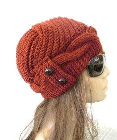 Womens Hat -  Knit hat - Valentines day - Rust Orange Cloche Hat - cable Knit hat  Winter fashion Accessories - Winter Hat on Etsy, $45.00